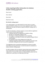Letter requiring further information for statutory flexible working application