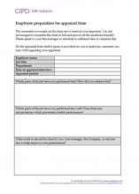 Employee preparation for appraisal form