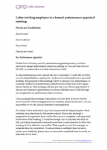 Letter inviting employee to a formal performance appraisal meeting