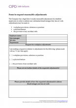Form to request reasonable adjustments