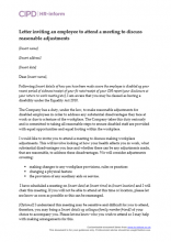 Letter inviting an employee to attend a meeting to discuss reasonable adjustments