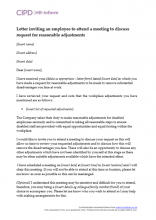 Letter inviting an employee to attend a meeting to discuss request for reasonable adjustments