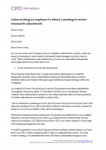 Letter inviting an employee to attend a meeting to review reasonable adjustments