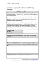 Form for an employee to make a whistleblowing disclosure