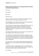 Letter inviting employee to a meeting following written whistleblowing disclosure