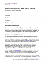 Letter inviting employee to formal meeting to discuss conclusion of apprenticeship