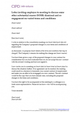 Letter inviting employee to meeting to discuss some other substantial reason (SOSR) dismissal and re-engagement on varied terms and conditions
