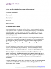 Letter to client following third party request for removal