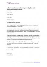 Letter to employee confirming investigation into whistleblowing disclosure