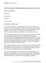 Letter to employee following third party reequest for removal