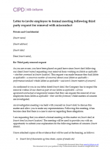 Letter to invite employee to formal meeting following third party request for removal with misconduct