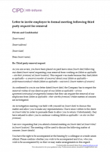 Letter to invite employee to formal meeting following third party request for removal