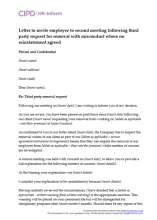 Letter to invite employee to second meeting following third party request for removal with misconduct where no reinstatement agreed