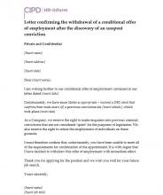 Letter confirming the withdrawal of a conditional offer of employment as a result of an unspent conviction