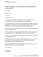 Letter to employees confirming that upcoming industrial action is lawful