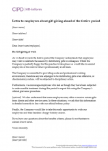 Letter to employees about gifit giving ahead of the festive period
