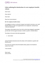 Letter to send to employees informing them of a new benefits scheme