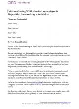 Letter confirming SOSR dismissal as employee is disqualified from working with children