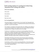 Letter inviting an employee to a meeting due to them being disqualified from working with childrem
