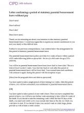 Letter confirming a period of statutory parental bereavement leave without pay