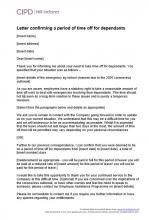 Letter confirming a period of time off for dependants