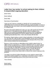 Letter from 'key worker' to school asking for their children to be permitted ongoing education