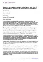 Letter to an employee explaining the right to take time off for dependants in light of the 2020 coronavirus outbreak