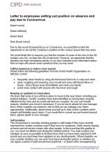 Letter to employees setting out position on absence and pay due to Coronavirus