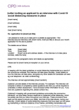 Letter inviting an applicant to an interview with COVID-19 social distancing measures in place