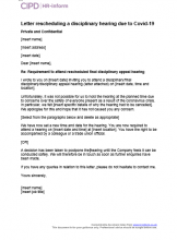 Letter rescheduling a disciplinary hearing due to Covid-19