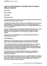 Letter to recall employee to workplace due to easing or lifting of lockdown