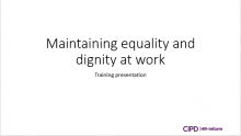 Maintaining equality and diversity at work