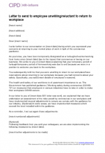 Letter to send to employee unwilling/reluctant to return to workplace